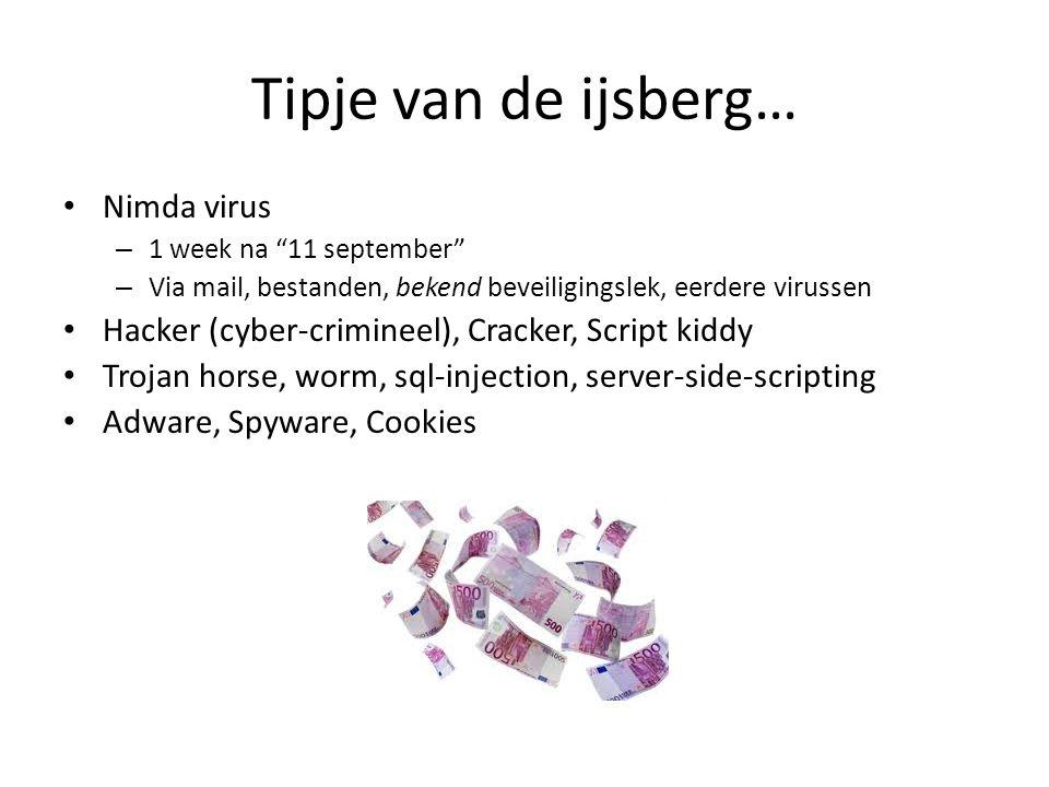 "Tipje van de ijsberg… • Nimda virus – 1 week na ""11 september"" – Via mail, bestanden, bekend beveiligingslek, eerdere virussen • Hacker (cyber-crimine"
