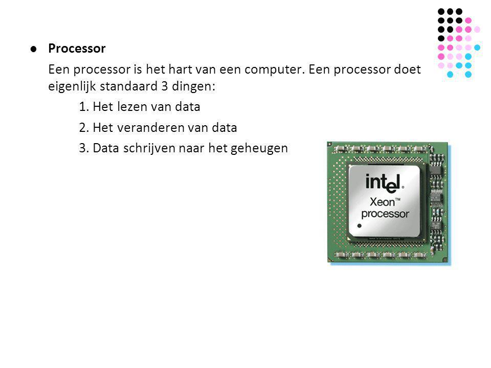  Processor Een processor is het hart van een computer. Een processor doet eigenlijk standaard 3 dingen: 1. Het lezen van data 2. Het veranderen van d