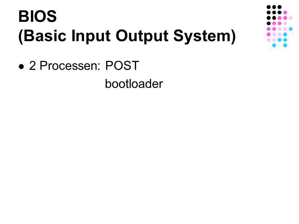 BIOS (Basic Input Output System)  2 Processen: POST bootloader