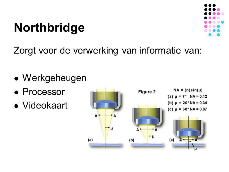 Northbridge Zorgt voor de verwerking van informatie van:  Werkgeheugen  Processor  Videokaart
