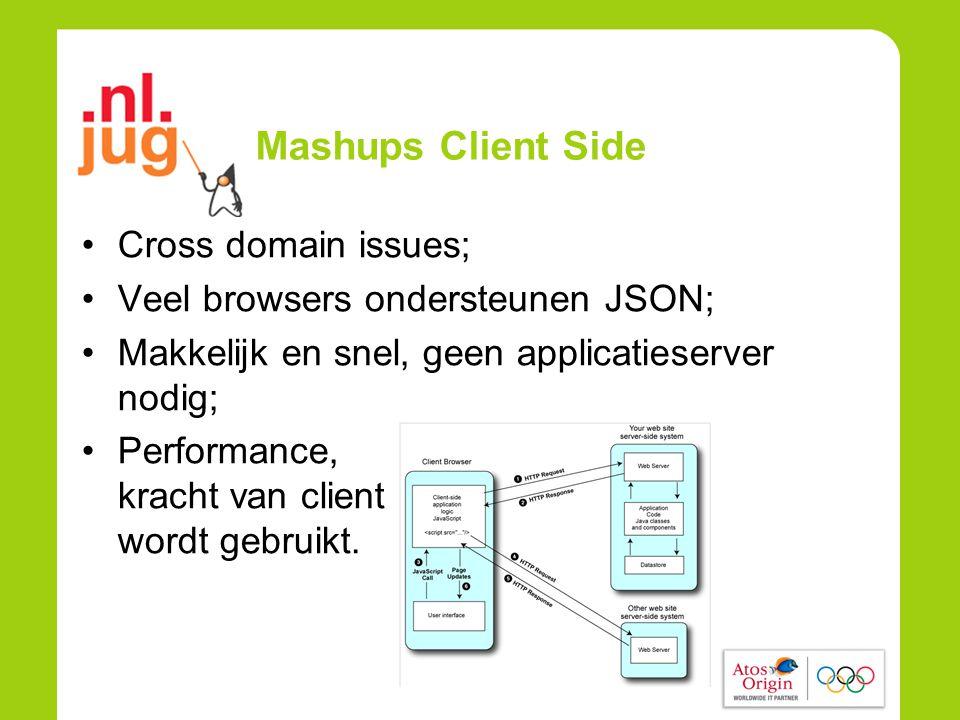 Mashups Client Side •Cross domain issues; •Veel browsers ondersteunen JSON; •Makkelijk en snel, geen applicatieserver nodig; •Performance, kracht van client wordt gebruikt.