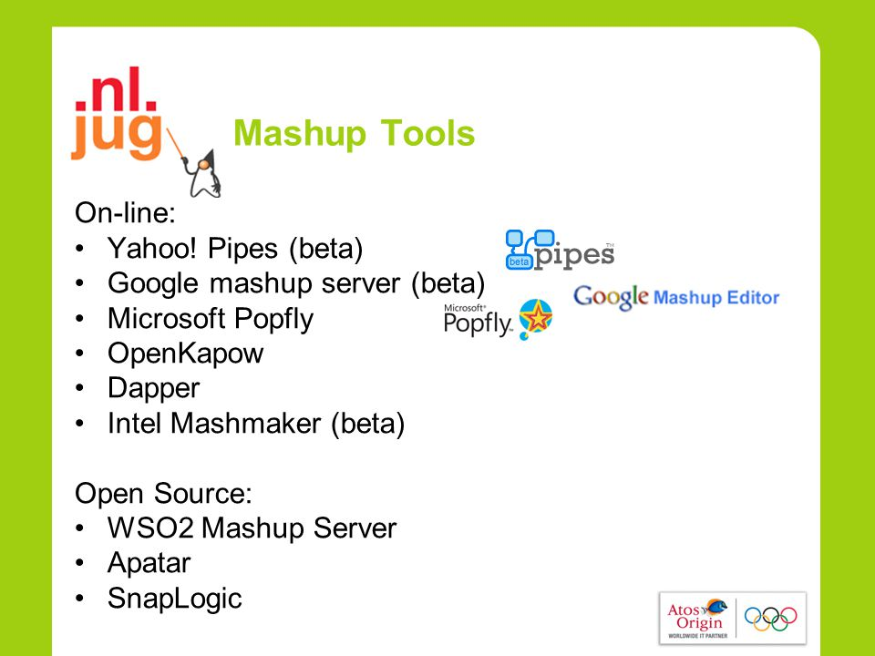 Mashup Tools On-line: •Yahoo.