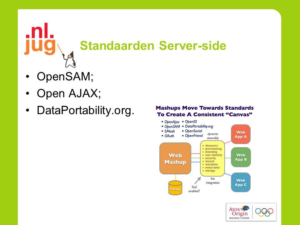 Standaarden Server-side •OpenSAM; •Open AJAX; •DataPortability.org.
