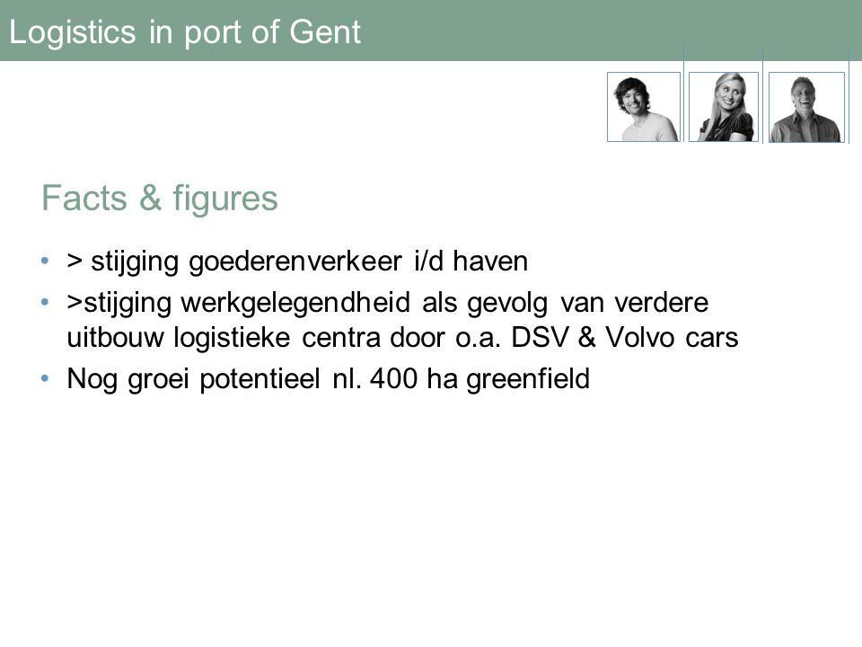 Logistics in port of Gent •> stijging goederenverkeer i/d haven •>stijging werkgelegendheid als gevolg van verdere uitbouw logistieke centra door o.a.