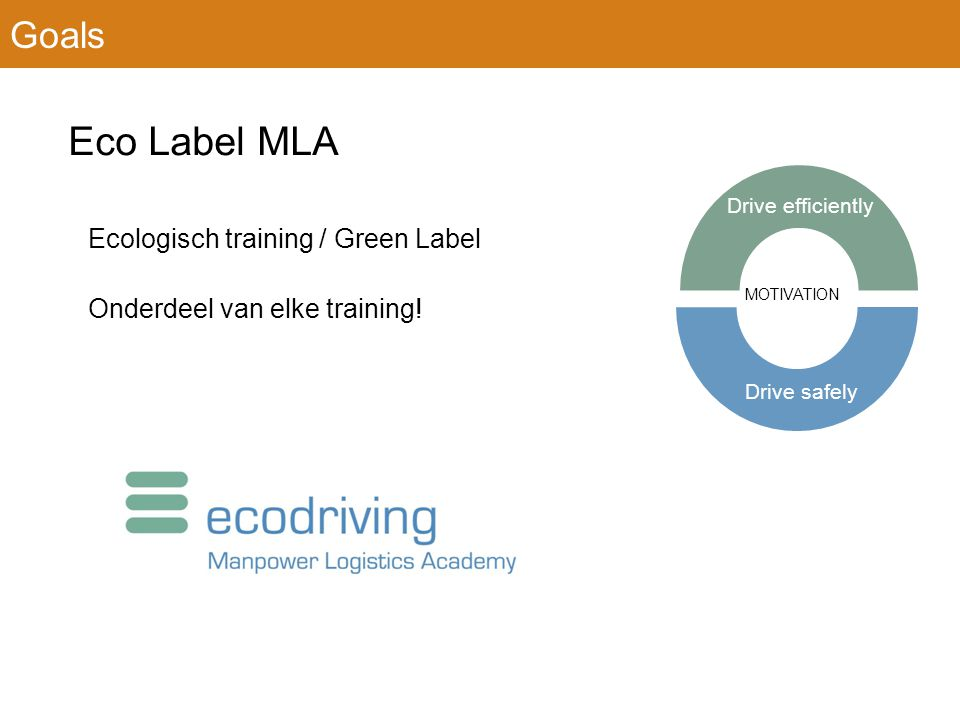 Eco Label MLA Ecologisch training / Green Label Onderdeel van elke training.