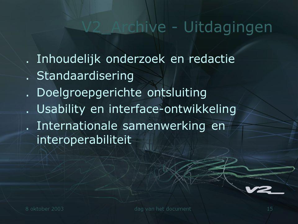 8 oktober 2003dag van het document15 V2_Archive - Uitdagingen.Inhoudelijk onderzoek en redactie.Standaardisering.Doelgroepgerichte ontsluiting.Usabili
