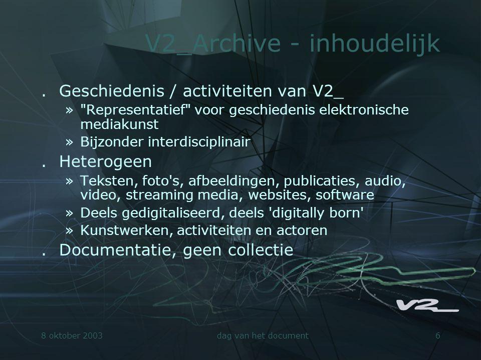8 oktober 2003dag van het document6 V2_Archive - inhoudelijk.Geschiedenis / activiteiten van V2_ »
