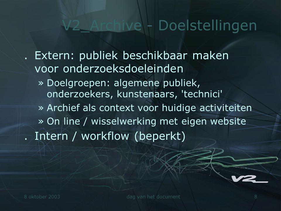 8 oktober 2003dag van het document9 V2_Archive - Metadata.Object- relatiemodel.Bestaande metadata- standaarden slechts beperkt toepasbaar.Thesaurus voor elektronische kunst