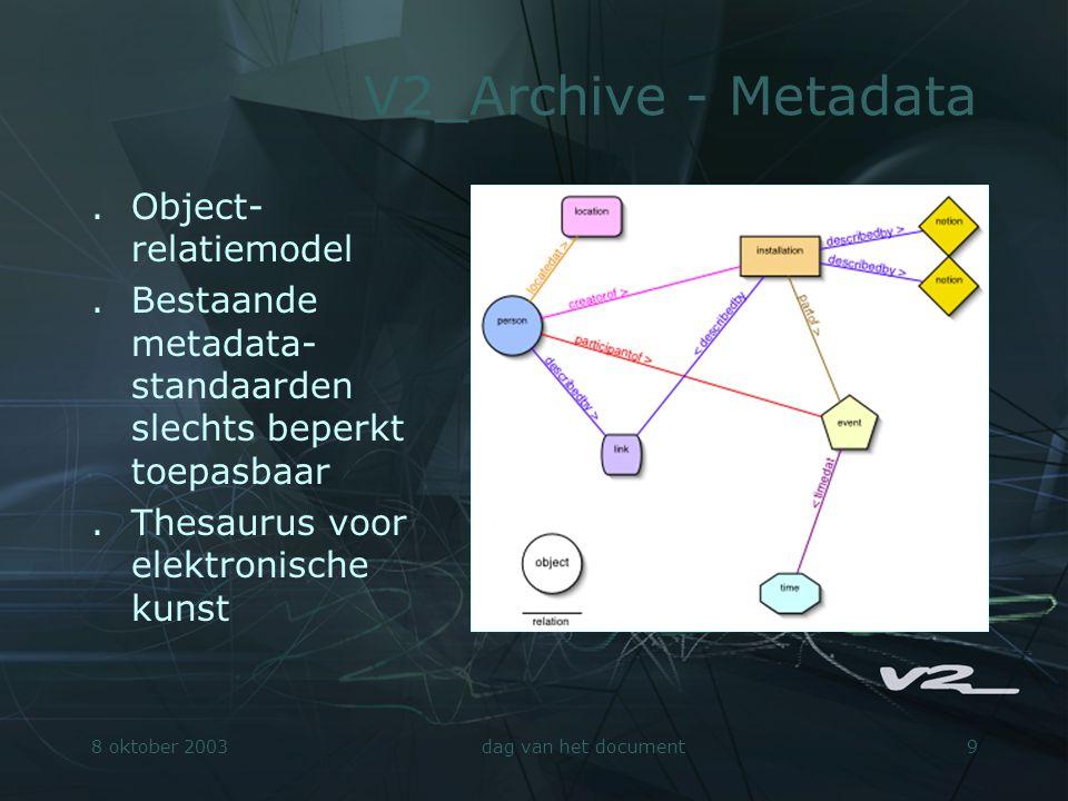 8 oktober 2003dag van het document9 V2_Archive - Metadata.Object- relatiemodel.Bestaande metadata- standaarden slechts beperkt toepasbaar.Thesaurus vo