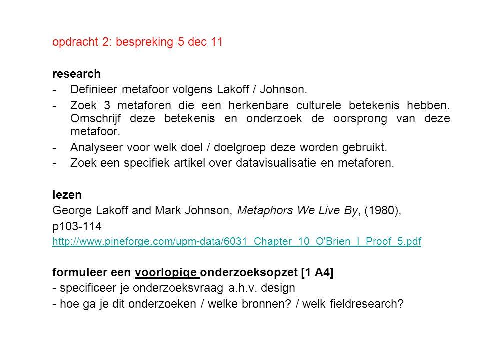 opdracht 2: bespreking 5 dec 11 research -Definieer metafoor volgens Lakoff / Johnson. -Zoek 3 metaforen die een herkenbare culturele betekenis hebben