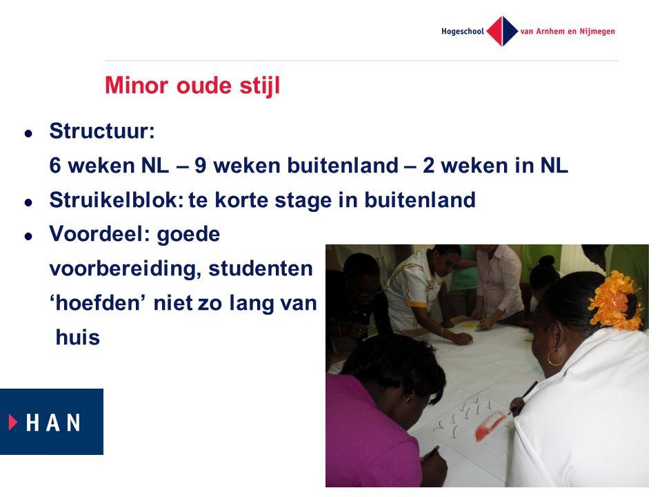 Minor oude stijl  Structuur: 6 weken NL – 9 weken buitenland – 2 weken in NL  Struikelblok: te korte stage in buitenland  Voordeel: goede voorbereiding, studenten 'hoefden' niet zo lang van huis