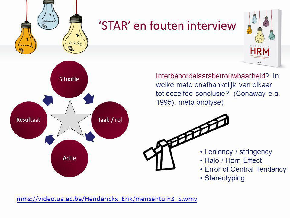 'STAR' en fouten interview SituatieTaak / rolActieResultaat • Leniency / stringency • Halo / Horn Effect • Error of Central Tendency • Stereotyping mm