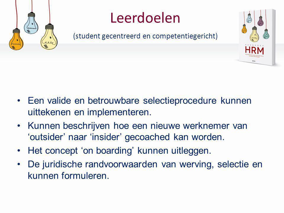 Leerdoelen (student gecentreerd en competentiegericht) •Een valide en betrouwbare selectieprocedure kunnen uittekenen en implementeren. •Kunnen beschr