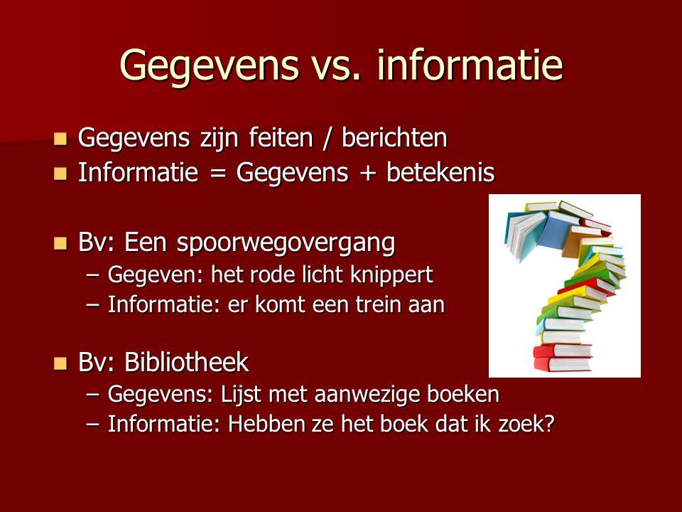 Gegevens vs. informatie  Gegevens zijn feiten / berichten  Informatie = Gegevens + betekenis  Bv: Een spoorwegovergang –Gegeven: het rode licht kni