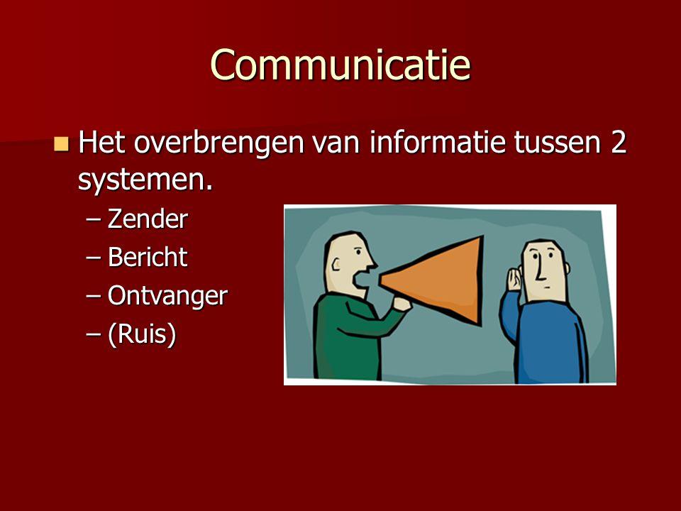 Communicatie  Het overbrengen van informatie tussen 2 systemen. –Zender –Bericht –Ontvanger –(Ruis)