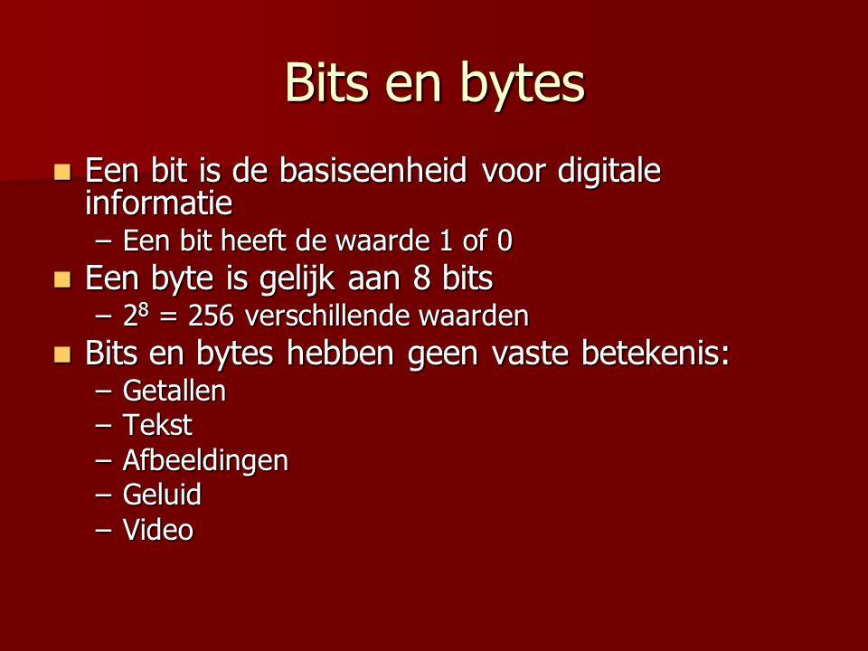 Bits en bytes  Een bit is de basiseenheid voor digitale informatie –Een bit heeft de waarde 1 of 0  Een byte is gelijk aan 8 bits –2 8 = 256 verschi