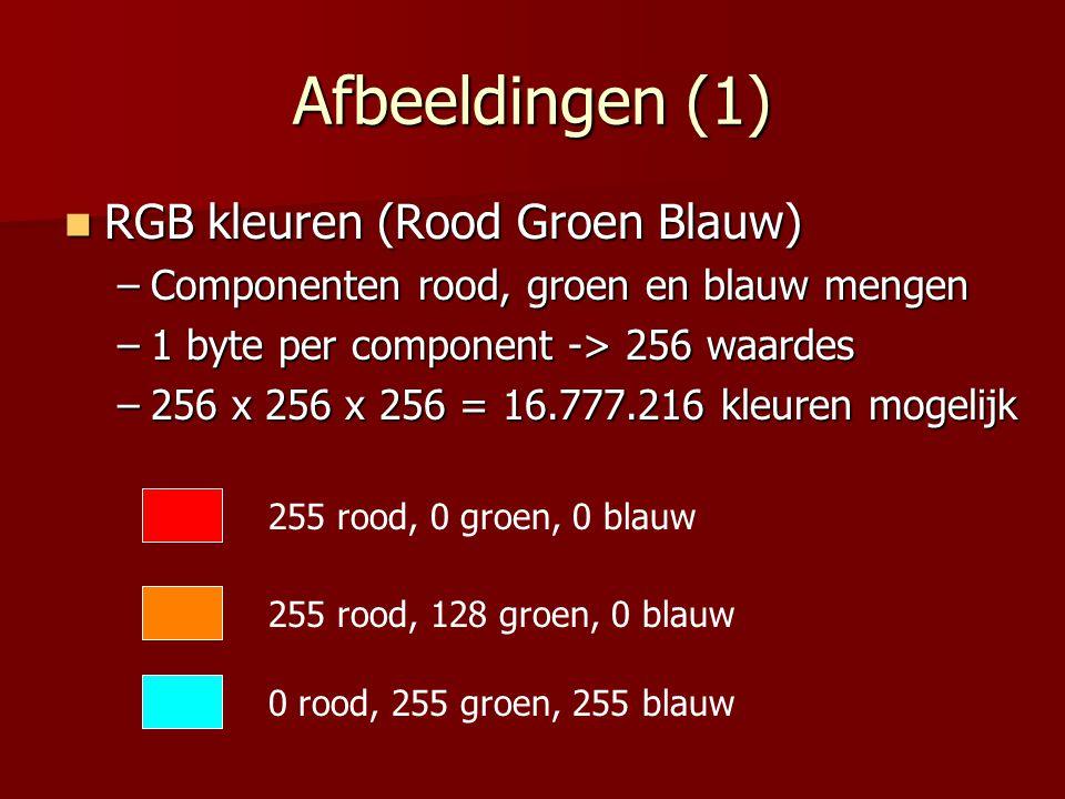 Afbeeldingen (1)  RGB kleuren (Rood Groen Blauw) –Componenten rood, groen en blauw mengen –1 byte per component -> 256 waardes –256 x 256 x 256 = 16.