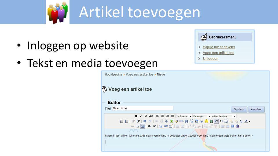 Artikel toevoegen • Inloggen op website • Tekst en media toevoegen