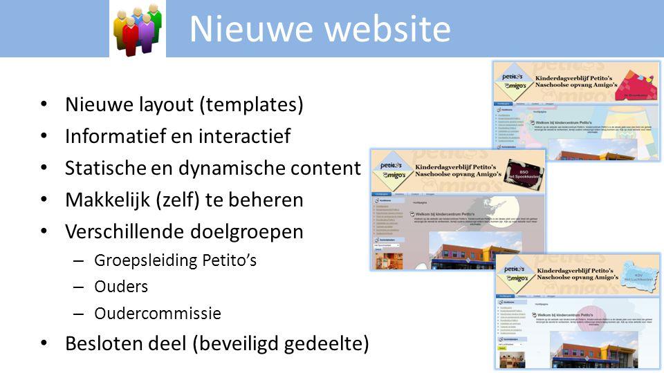 • Nieuwe layout (templates) • Informatief en interactief • Statische en dynamische content • Makkelijk (zelf) te beheren • Verschillende doelgroepen –
