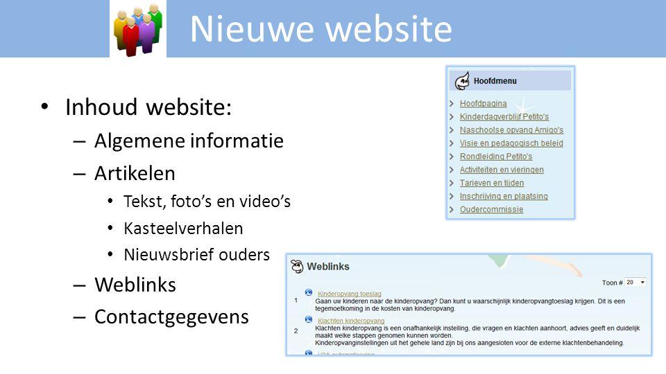 Nieuwe website • Inhoud website: – Algemene informatie – Artikelen • Tekst, foto's en video's • Kasteelverhalen • Nieuwsbrief ouders – Weblinks – Cont