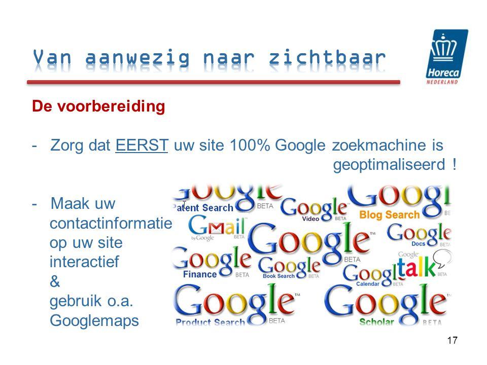 De voorbereiding - Zorg dat EERST uw site 100% Google zoekmachine is geoptimaliseerd .