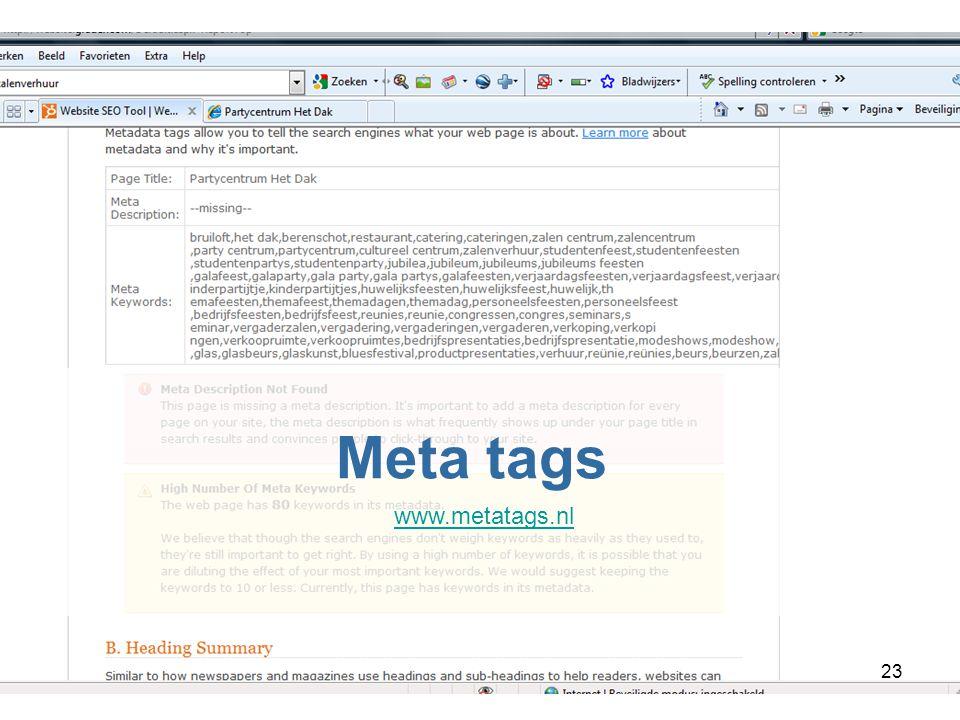 23 Meta tags www.metatags.nl