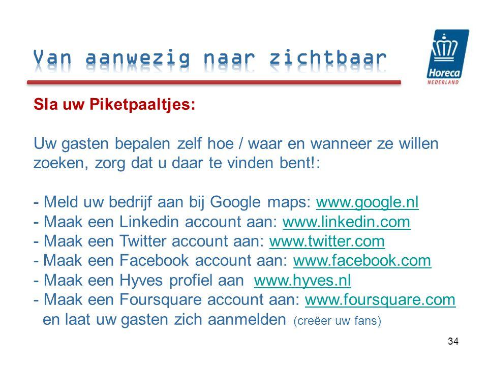 Sla uw Piketpaaltjes: Uw gasten bepalen zelf hoe / waar en wanneer ze willen zoeken, zorg dat u daar te vinden bent!: - Meld uw bedrijf aan bij Google maps: www.google.nlwww.google.nl - Maak een Linkedin account aan: www.linkedin.comwww.linkedin.com - Maak een Twitter account aan: www.twitter.comwww.twitter.com - Maak een Facebook account aan: www.facebook.comwww.facebook.com - Maak een Hyves profiel aan www.hyves.nlwww.hyves.nl - Maak een Foursquare account aan: www.foursquare.com en laat uw gasten zich aanmelden (creëer uw fans)www.foursquare.com 34