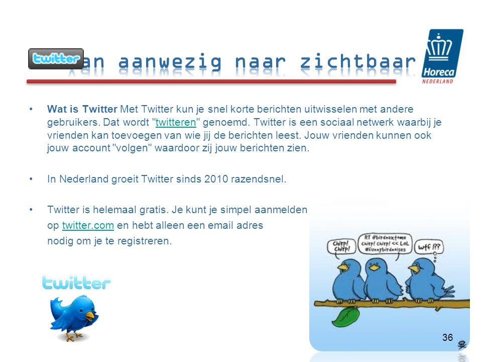 •Wat is Twitter Met Twitter kun je snel korte berichten uitwisselen met andere gebruikers.