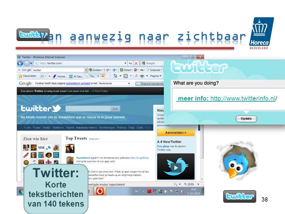 38 meer info: http://www.twitterinfo.nl/ Twitter: Korte tekstberichten van 140 tekens