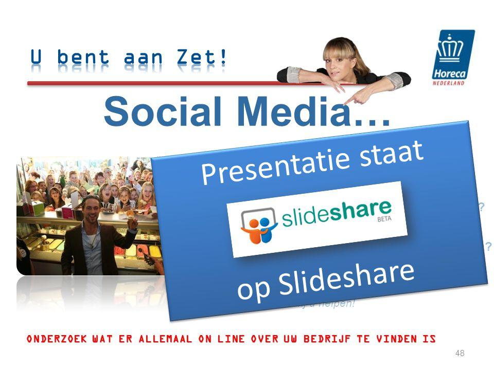 Social Media… 1.Waar begin ik. Uitleg over hoe u online te vinden bent.