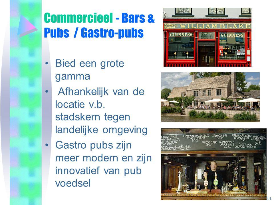 Commercieel - Bars & Pubs / Gastro-pubs •Bied een grote gamma • Afhankelijk van de locatie v.b.