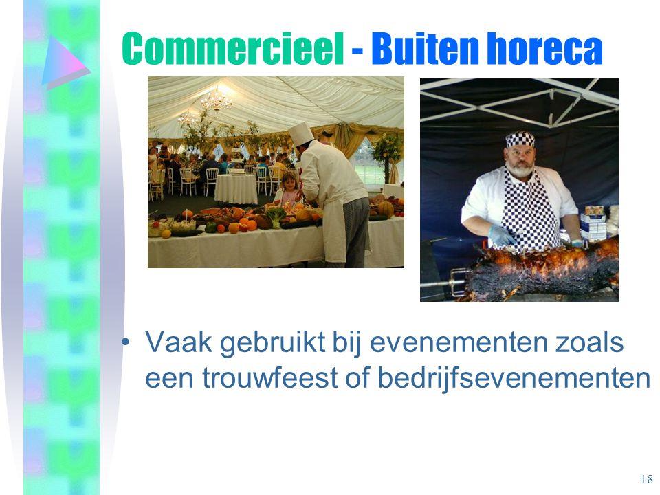 •Vaak gebruikt bij evenementen zoals een trouwfeest of bedrijfsevenementen Commercieel - Buiten horeca 18