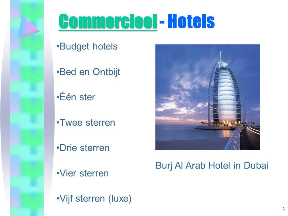 Commercieel Commercieel - Hotels •Budget hotels •Bed en Ontbijt •Één ster •Twee sterren •Drie sterren •Vier sterren •Vijf sterren (luxe) Burj Al Arab Hotel in Dubai 3