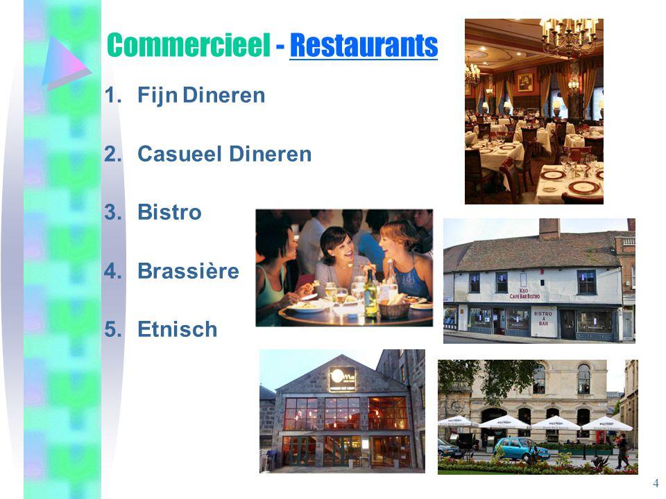 Commercieel - Restaurants 1.Fijn Dineren 2.Casueel Dineren 3.Bistro 4.Brassière 5.Etnisch 4