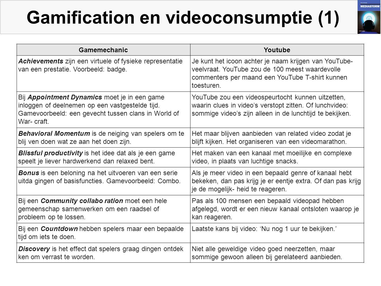 Gamification en videoconsumptie (1) GamemechanicYoutube Achievements zijn een virtuele of fysieke representatie van een prestatie.