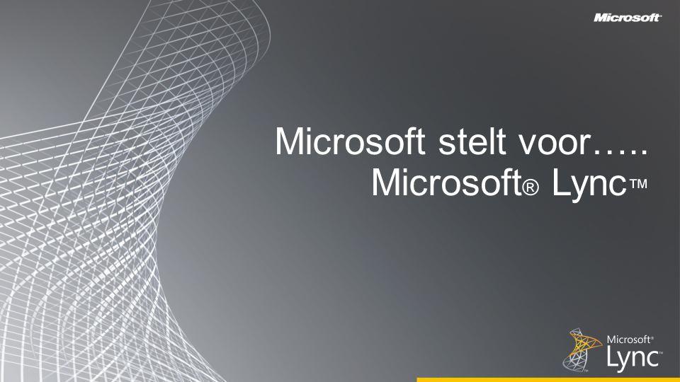 Microsoft stelt voor….. Microsoft ® Lync ™
