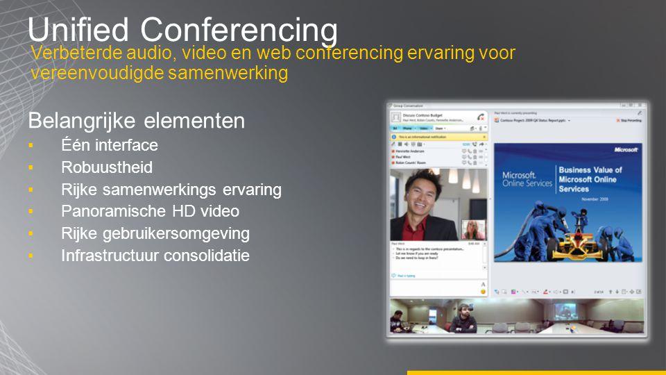 Unified Conferencing Belangrijke elementen ▪Één interface ▪Robuustheid ▪Rijke samenwerkings ervaring ▪Panoramische HD video ▪Rijke gebruikersomgeving
