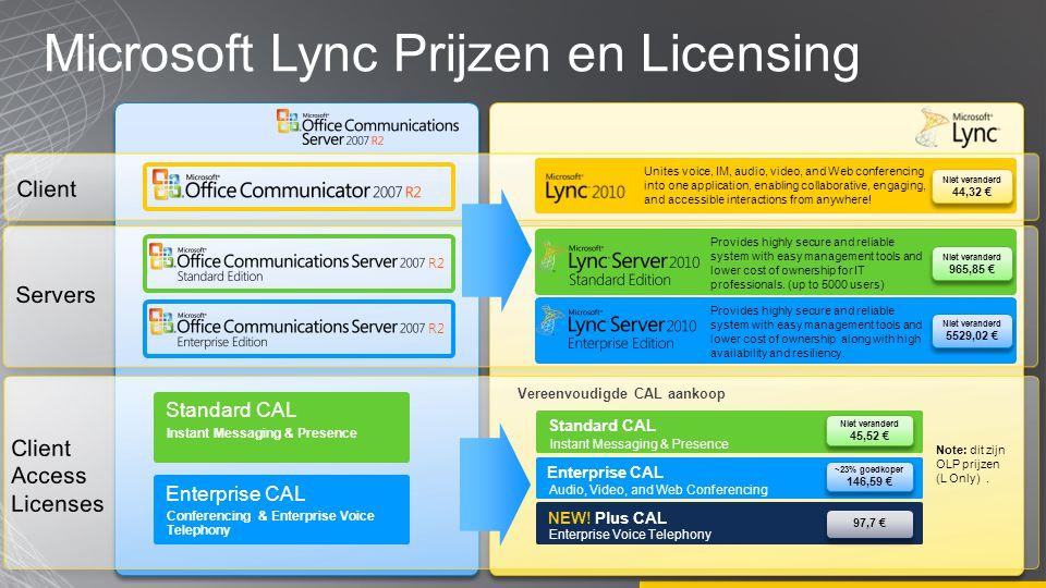 Microsoft Lync Prijzen en Licensing R2 Niet veranderd 44,32 € Niet veranderd 44,32 € Niet veranderd 965,85 € Niet veranderd 965,85 € Niet veranderd 55