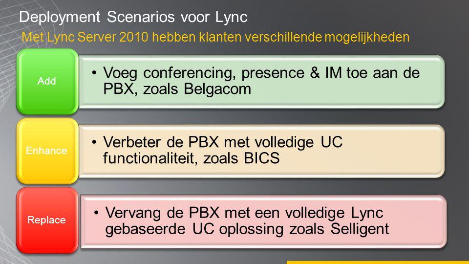 Deployment Scenarios voor Lync Met Lync Server 2010 hebben klanten verschillende mogelijkheden •Voeg conferencing, presence & IM toe aan de PBX, zoals