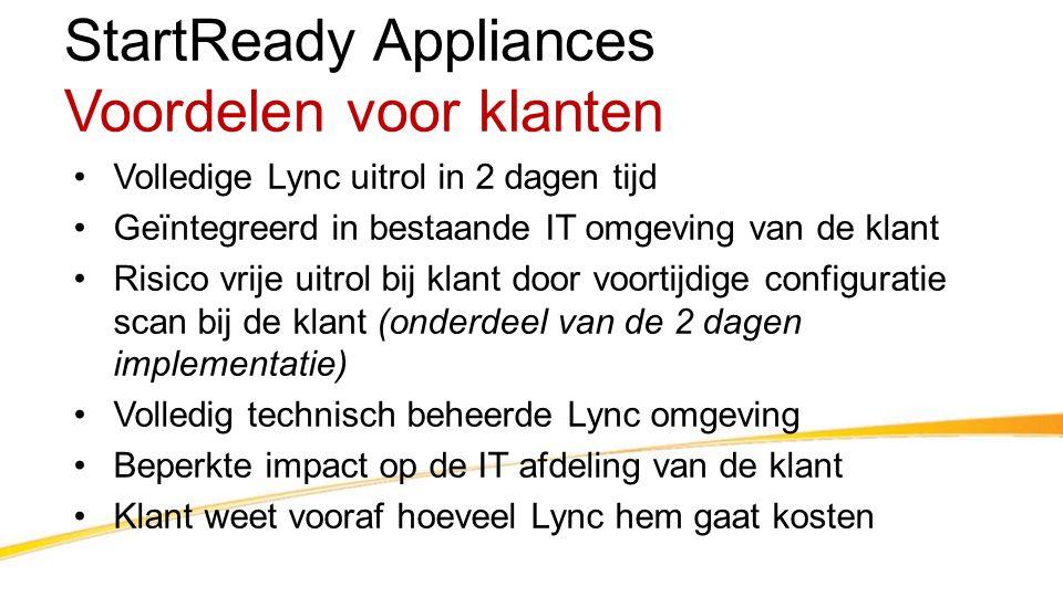 StartReady Appliances Voordelen voor klanten •Volledige Lync uitrol in 2 dagen tijd •Geïntegreerd in bestaande IT omgeving van de klant •Risico vrije