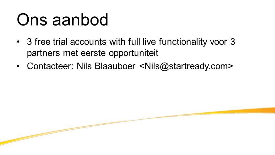 Ons aanbod •3 free trial accounts with full live functionality voor 3 partners met eerste opportuniteit •Contacteer: Nils Blaauboer