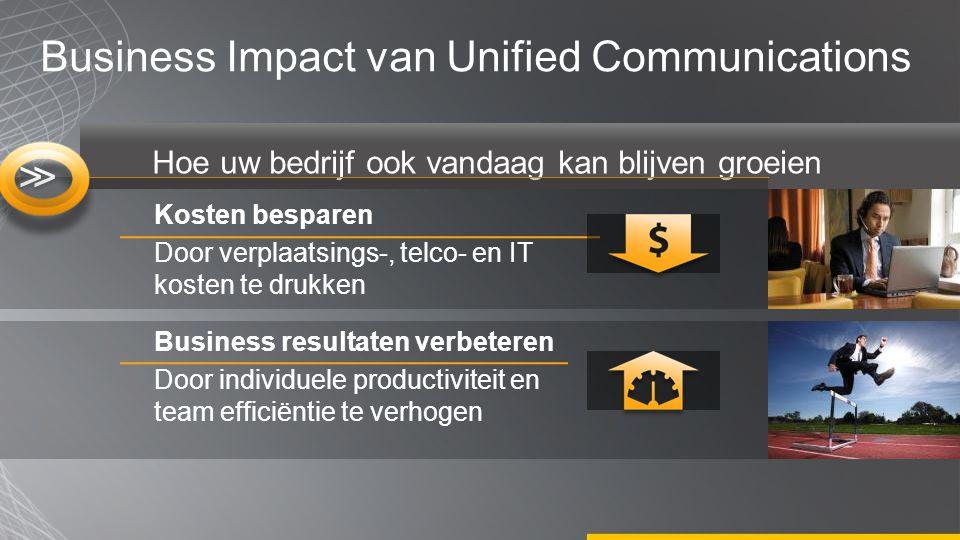 Hoe uw bedrijf ook vandaag kan blijven groeien Business Impact van Unified Communications Kosten besparen Door verplaatsings-, telco- en IT kosten te