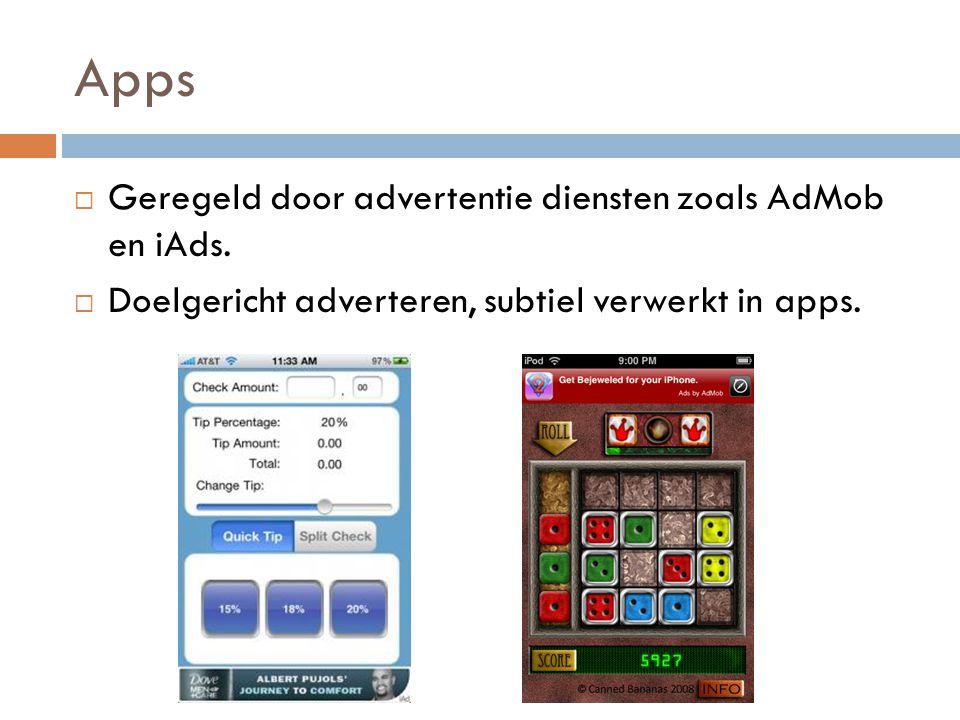 Apps  Geregeld door advertentie diensten zoals AdMob en iAds.