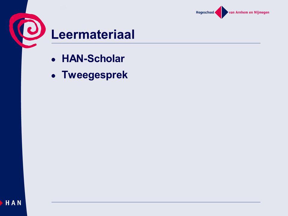 Scholar (HAN-intranet)  Spoorboekje  Weblectures  Presentaties  Oefeningen  Veel tijd…..