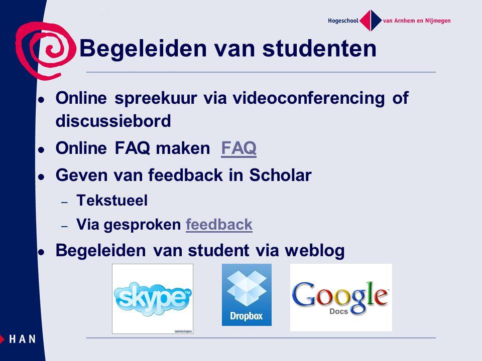 Overzicht  Discussie E-learningmogelijkhedenHAN faciliteiten Online leermateriaalWeblectures Video materiaal Ppt inspreken: presentations2go.