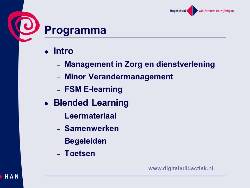 Management in Zorg en Dienstverlening (MZD)  Opleiding Bachelor  Blended Learning – Herontwerp – 1 ste fase en op weg naar 2 de fase – Inrichting leeromgeving  https://online.han.nl/sites/8-VDO- MZD_afstandsleren/default.aspx https://online.han.nl/sites/8-VDO- MZD_afstandsleren/default.aspx  OWE's OB1 -> mindmap – RL Tweegesprek – BH2 rekentoets en instructiefilms