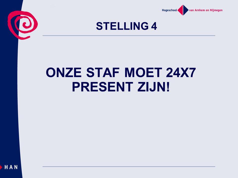 ONZE STAF MOET 24X7 PRESENT ZIJN! STELLING 4