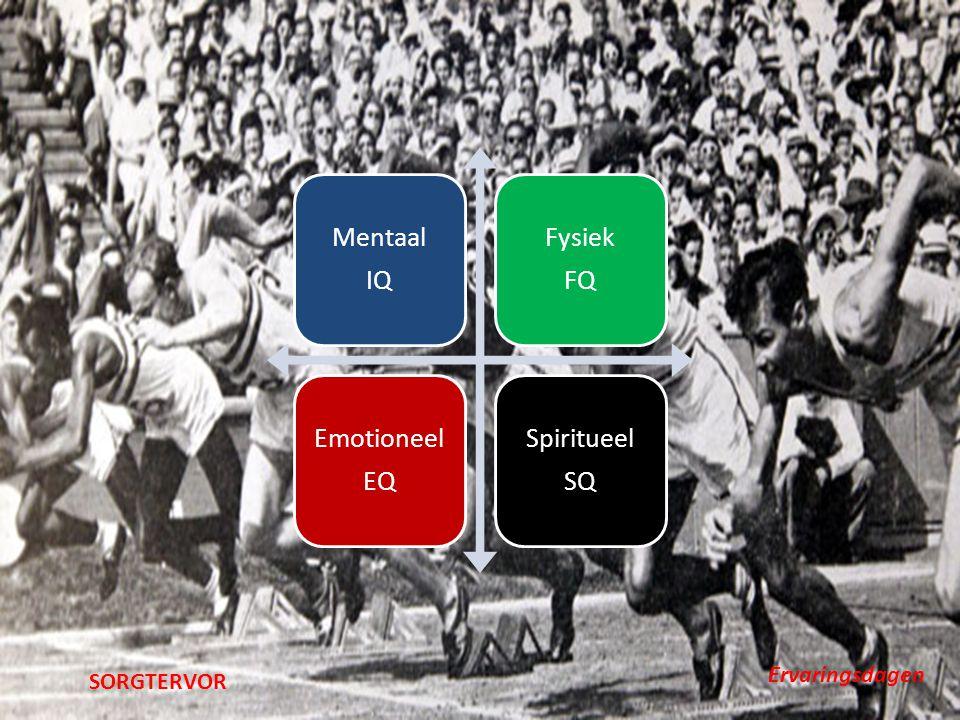 Mentaal IQ Fysiek FQ Emotioneel EQ Spiritueel SQ SORGTERVOR Ervaringsdagen