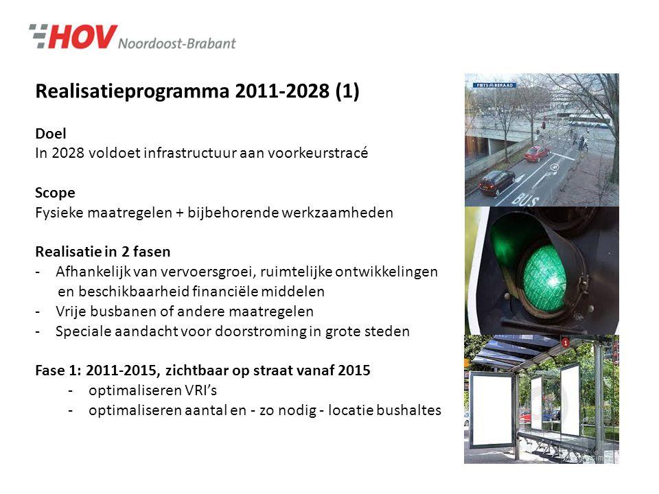 Realisatieprogramma 2011-2028 (1) Doel In 2028 voldoet infrastructuur aan voorkeurstracé Scope Fysieke maatregelen + bijbehorende werkzaamheden Realisatie in 2 fasen -Afhankelijk van vervoersgroei, ruimtelijke ontwikkelingen en beschikbaarheid financiële middelen -Vrije busbanen of andere maatregelen -Speciale aandacht voor doorstroming in grote steden Fase 1: 2011-2015, zichtbaar op straat vanaf 2015 -optimaliseren VRI's -optimaliseren aantal en - zo nodig - locatie bushaltes