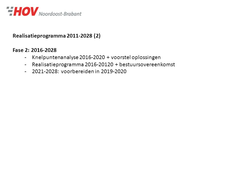 Bestuursovereenkomst 2011-2015 Doel -Een robuust en wervend regionaal HOV-netwerk in 2028 -Realisatieprogramma 2011-2028 volledig uitgevoerd in 2028 Deelnemende partijen -Vervoersautoriteiten: provincie en SRE -HOV-gemeenten: Bernheze-Oss-'s-Hertogenbosch-Schijndel-Sint-Michielsgestel- Sint-Oedenrode- Uden-Veghel-Eindhoven-Son en Breugel Rollen -Vervoersautoriteiten: exploitatie, dienstregeling en marketing -HOV-gemeenten: infrastructuur, incl.
